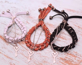 Pensy #2 - Suede Leather & Chain Woven Bracelet with a Key charm