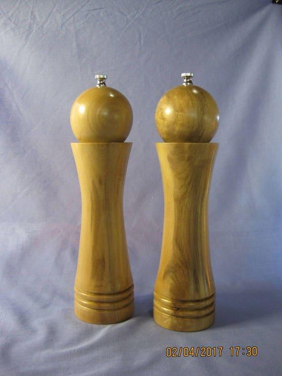 Unique shape handcrafted pair of salt pepper mills grinders - Novelty pepper mill ...