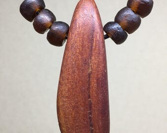 Dark wooden teardrop bead | recycled glass beads | adjustable leather