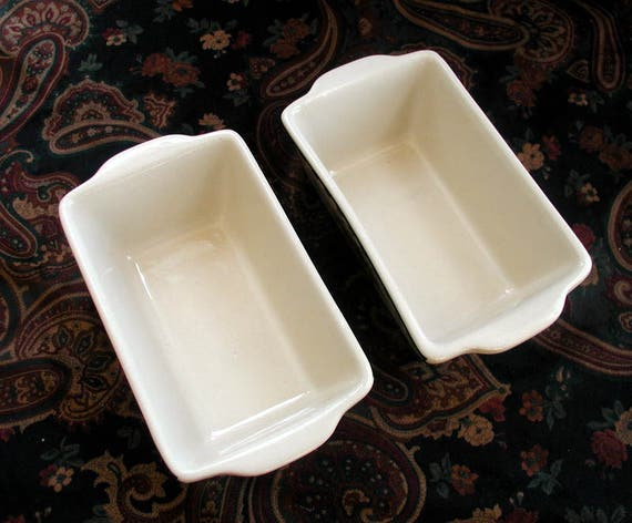 Nantucket Stoneware Mini Loaf Pans Vintage Ceramic Baking
