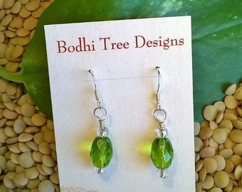 Green Glass Bead Earrings, Green Glass Earrings, Bright Green, Dainty Earrings, Happy, Green Jewelry, Summer Jewelry, Beach Jewelry