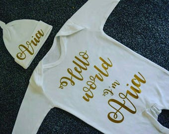 Personalised Baby Sleepsuit / Baby grow and Hat