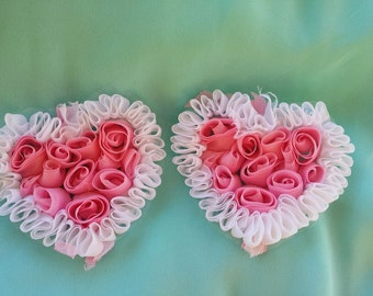 Pink and White Rosette hearts