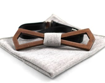 Walnut hollow wooden bow tie set with pocket square(Grey)