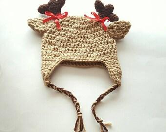 Crochet Deer Hat & Bows, Crochet Infant Hat, Crochet Toddler Hat, Child Crochet Hat, Kids Hat, Adult Crochet Hat, Custom Colors, Photo Prop