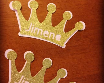 Dyi cut crown with name . Gold and blush crown . Princess party decoration .