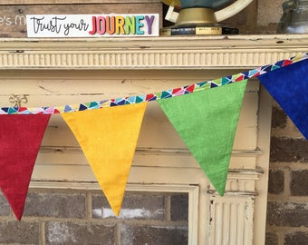 FABRIC BUNTING BANNER, Bright Colors, Playroom, Primary Colors, Classroom, Nursery, Educator, Daycare, Photo Prop, Backdrop, Teacher Gift