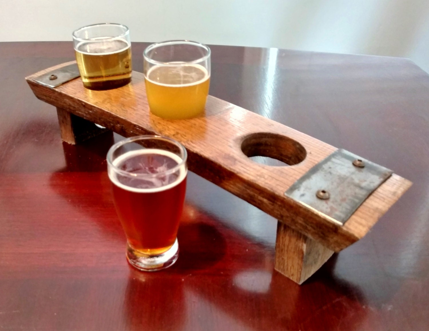 Beer Flight Tray Made From Reclaimed Whiskey Barrel Stave 3
