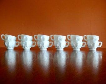 12 White Milk Glass Punch Cups, Vintage Westmoreland Paneled Grape Pattern, Mid Century Kitchen
