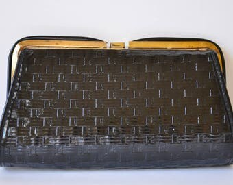 1970s Vintage Black Patent Leather Clutch with Thatched/Woven Embossed Detail