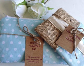 Makeup Bag & Travel Tissue Case Holder Gift Set, Cosmetics Bag, Tissue Case, Cosmetic Bag, Make Up Bag, Toiletry Bag, Polkadot Fabric