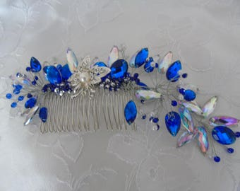 Wedding Comb with Blue an Clear Rhinestones