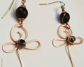 Ankh earrings, garnet ankh earrings, abstract ankh earrings, artisan ankh earrings, gemstone earrings, garnet, hematite, gifts for her
