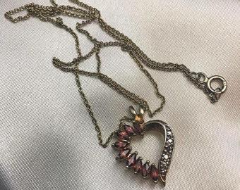 Sterling Silver Garnett GemStone Heart Necklace
