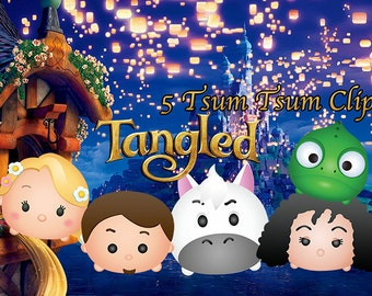 TANGLED TSUM TSUM. 5 High Resolution Digital Clipart. Princess Birthday Party. Baby shower. Party Supplies.