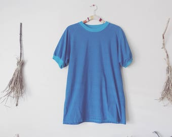 Blue Striped Ringer Tee