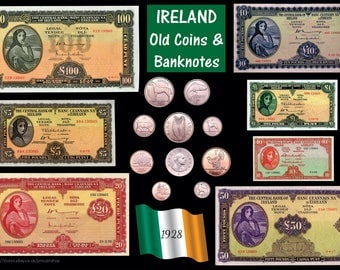 IRELAND Old Coins & Banknotes poster A3 (rolled) Irish EIRE Lady Lavery [IRECB]