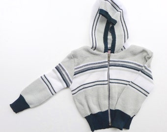 Vintage 70's Toddlers Knitted Hooded Striped Top - New Old Stock - Age 1-2 Years