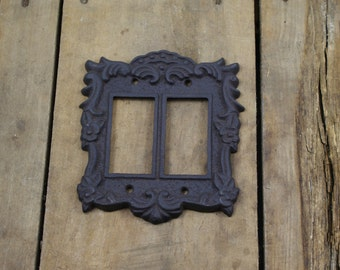 Cast Iron Double Light Switch Plate