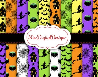 Buy 2 Get 1 Free-20 Digital Papers. Halloween Characters Pack 1 (2E no 1) for Personal Use and Small Commercial Use Scrapbooking