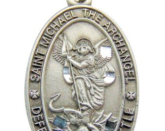 Saint pendants etsy st michael the archangel pewter oval medal 1 saint pendant w 24 endless aloadofball Choice Image
