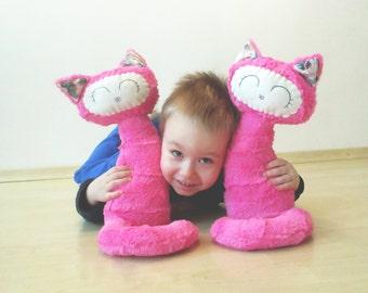 Valentine Pink Cat sewing pattern, Stuffed Kitten, Plush toy, PDF Instructions