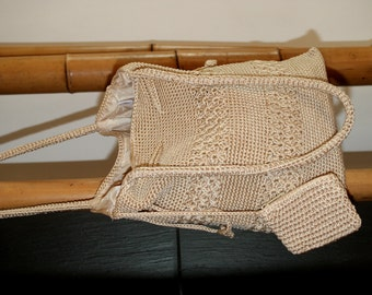 Vintage crochet Bag, 80 's Summer Bag, Cotton, Beige, Crochet Shoulder Bag, Shoulder Bag, Crochet, cotton Beige, 80 's Vintage, Boho
