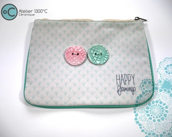Pouch in cotton with pink and blue porcelain button