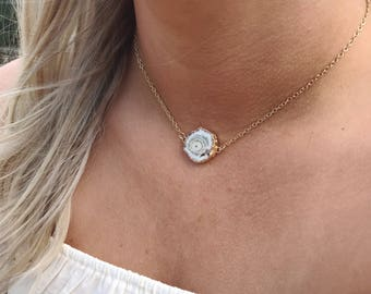 Solar Druzy Choker Necklace // Gold Filled necklace // Everyday Jewelry