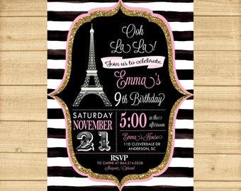 Paris Birthday Invitation, Paris Invitation, Eiffel Tower Invite, Chalkboard, French Party ANY AGE, Pink Eiffel Paris Party Invitation