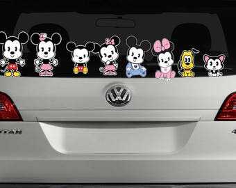 Cutie Disney Family-Mickey Mouse-Minnie Mouse-VInyl Decal-Daughter-Boy-Pet-Dog-Cat-Girl-Son-Baby-Car Decal