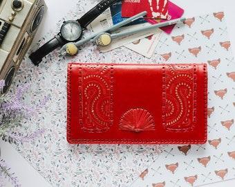 Qwipas Red Oversized Genuine Leather Wallet Women Wallet Slim Tablet Handphone Zipper Cards Clutch Organizer Wallet Big Wallet