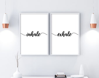 Inhale Exhale Print, Yoga Wall Art, Wall Prints, Inhale Exhale, Pilates Art, Relaxation Gifts, Breathe Print, Yoga Print, Pilates Poster