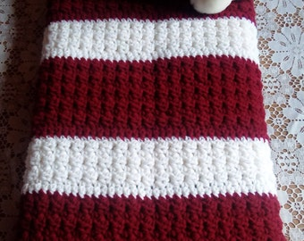 Burgundy/White Lap Blanket