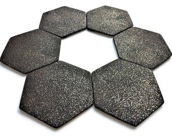 Hexagon coasters, Ceramic tile coasters, Ceramic coasters, Black coasters, Home decor, Kitchen decor, Handmade ceramic coaster, Set of 6