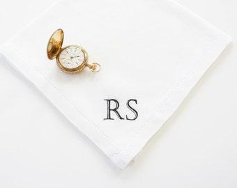 Men's Monogrammed Handkerchief, Irish Linen or Cotton Handkerchief, Pocket Square, Wedding Handkerchief