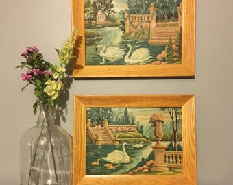 2 Matching Vintage Paint By Number Swan Pictures
