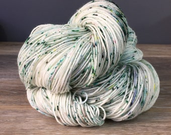 Winter Wonderland -  White and Green Speckled Yarn, Sock or Fingering Weight, DK, Worsted, Superwash Merino Wool Nylon, Various Base Options