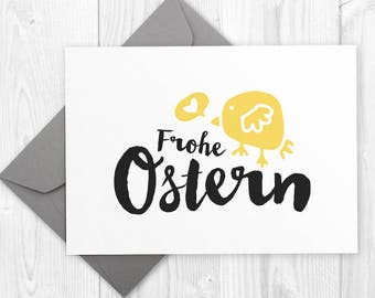 Frohe Ostern DIY Grußkarte - drucken und schneiden / Happy Easter printable card / Minimalist Easter Baby Chick card - instant download