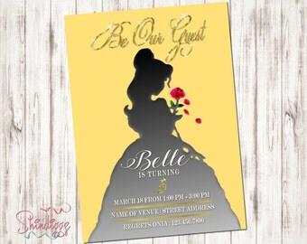 Belle Invitation, Belle Silhouette, Belle Birthday, Belle Party, Princess Invitation, Princess Party, Beauty, 2017