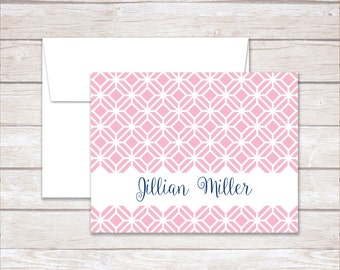 Personalized NoteCards, Folded Note Cards, Thank You NoteCards, Pink & Navy NoteCards, Stationery Set, Wedding Gift, Personalized Note Cards