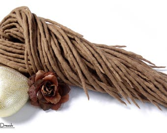 "Wool Dreadlocks Dreads "" Beige Cashmere "" Double Ended"