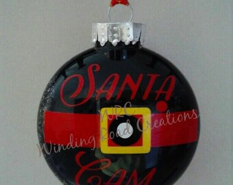 Santa Cam, Ornament, Christmas, Tree, Wreath Decor, Holiday, Handmade