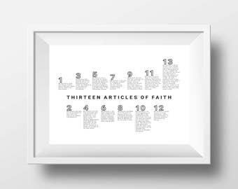 11 x 8.5 Thirteen Articles of Faith