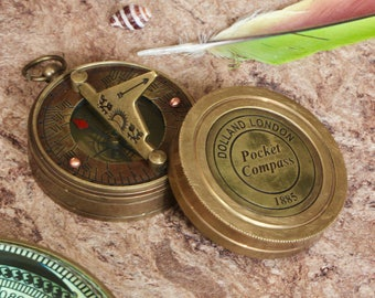 Handmade brass pocket compass, vintage style compass, steampunk collectibles, nautical compass, engraded compass, sundial, gifts for him