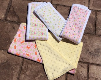 Newborn Gift Set-Baby Shower Gift-3 Coordinating Burp Cloths With Matching Lovey
