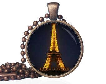 Eiffel Tower Lights Necklace - Eiffel Tower Necklace - Eiffel Tower Jewelry - Paris Pendant - Eiffel Tower Gift - Tower Necklace