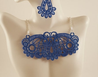 Blue lace necklace Lace jewelry Blue necklace Bib Necklace Statement necklace Bridesmaids gift Large necklace Bib lace jewelry Necklaces