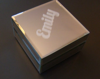 Glass Mirrored Etched Custom Personalized Jewelry Box