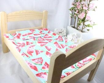 Watermelon bed set / Ikea Duktig doll bed set / Watermelon bed spread for ikea doll bed